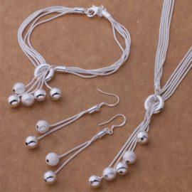 Set bijuterii placat argint colier, bratara si cercei