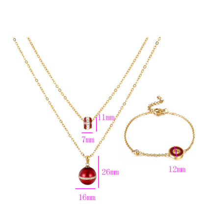 Set colier si bratara placat aur rosu detalii