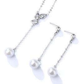 Set elegant argint 925 colier si cercei perle