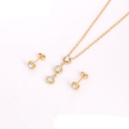 Set elegant cristale placat aur 24K sus