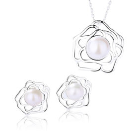 Set floricica argint 925 colier si cercei perle
