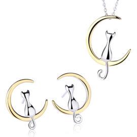 Set pisicute argint 925 colier si cercei
