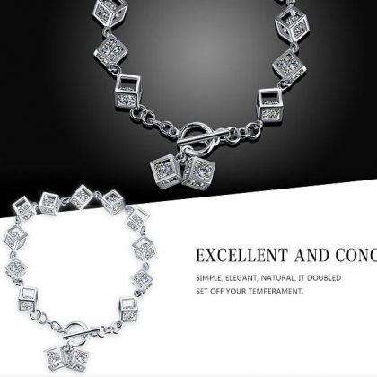 Bratara argint 925, cuburi cu cristale zirconiu argint
