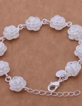 Bratara eleganta placata argint cu trandafiri Sara