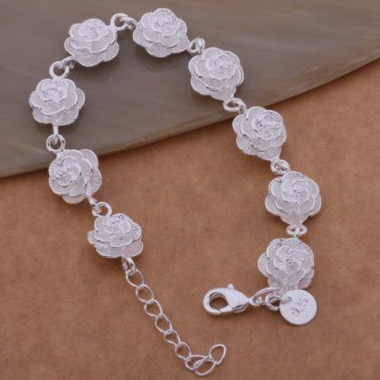 Bratara eleganta placata argint cu trandafiri Sara stanta