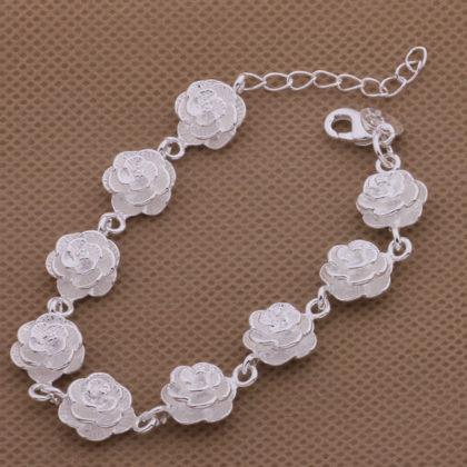 Bratara eleganta placata argint cu trandafiri Sara sus