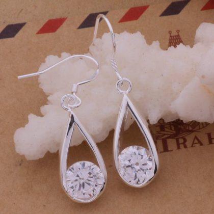 Cercei argint cu cristale Sara eleganti profil