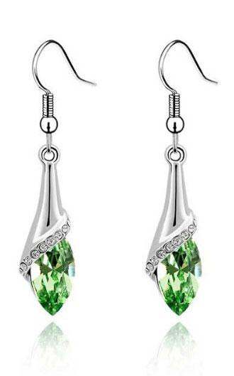 Cercei lungi cu cristal verde
