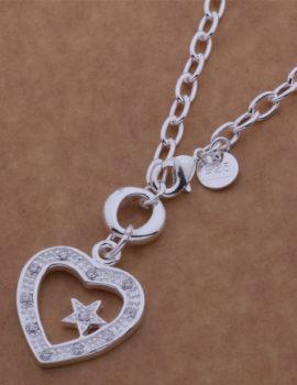 Colier argint pandantiv inimioara cu steluta Sara