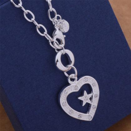 Colier argint pandantiv inimioara cu steluta Sara pandantiv