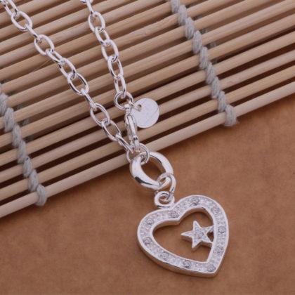 Colier argint pandantiv inimioara cu steluta Sara profil