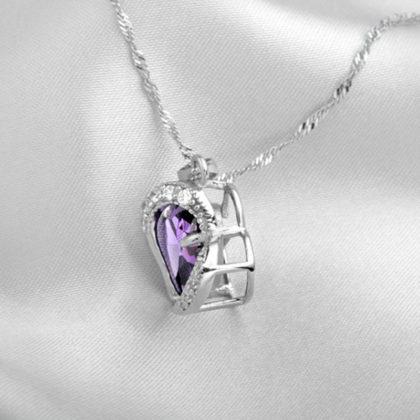 Colier placat argint inimioara cristal mov profil