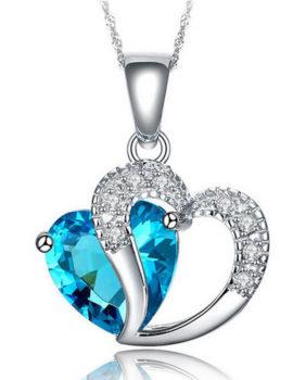Colier placat argint inimioara cristal turcoaz