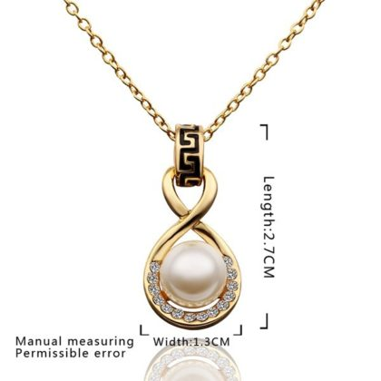 Colier placat aur pandantiv cu perla si pietricele