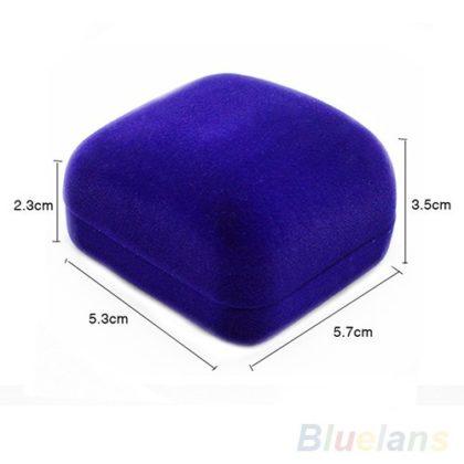 Cutie de bijuterii albastra pentru cadou din flanel dimensiuni