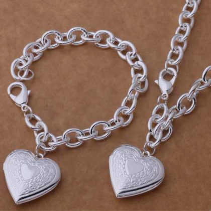 Set argint inimioare colier si bratara Sara