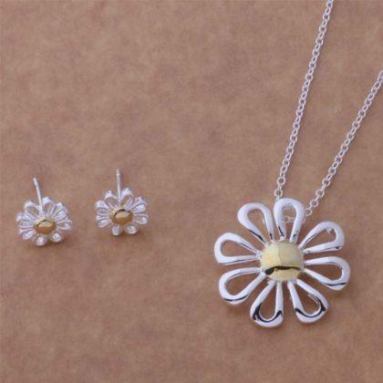 Set colier si cercei floare din argint Sara