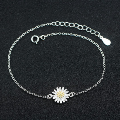 Bratara glezna argint 925 cu floricica sus