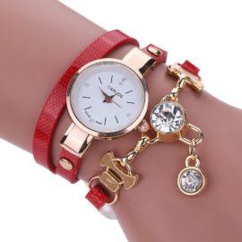 Ceas de mana cu bratara rosie si cristale Carude