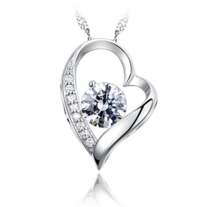 Colier argint 925 inimioara cu cristal zirconiu fata