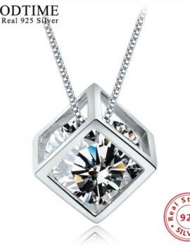 Colier argint 925, pandantiv romb cu cristal zirconiu