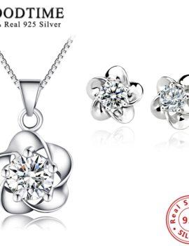 Set argint 925 colier si cercei floricica cu zirconiu