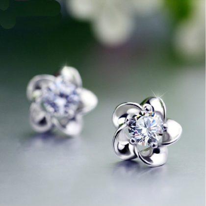 Set argint 925 colier si cercei floricica cu zirconiu cercei