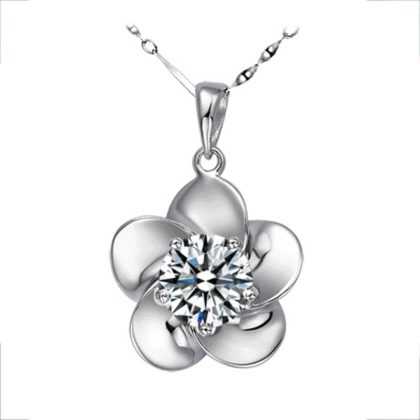 Set argint 925 colier si cercei floricica cu zirconiu colier