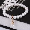 Bratara handmade cu imitatie perle albe profil