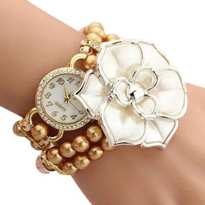 Ceas elegant cu floricica si bratara din perle cafenii sus
