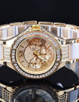 Ceas Geneva auriu-alb cu cristale