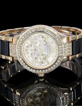 Ceas Geneva auriu-negru cu cristale