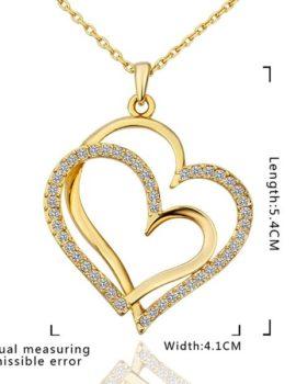 Colier placat aur cu pandantiv inimioara dubla