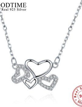 Lantisor argint 925 cu pandantiv inimioare