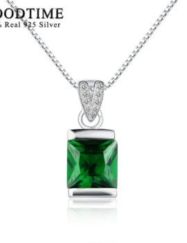 Lantisor argint 925, pandantiv cu cristal verde