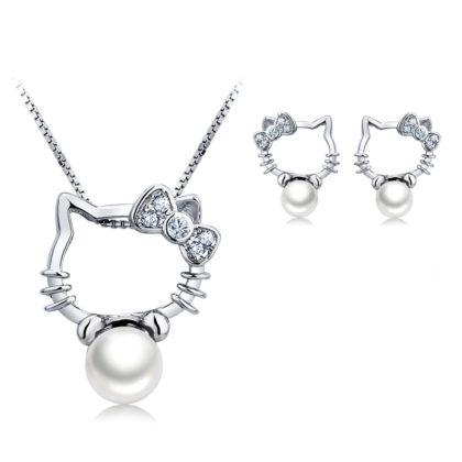 Set argint 925 colier si cercei cu perle naturale fata