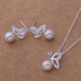 Set argint colier si cercei fluturasi perle