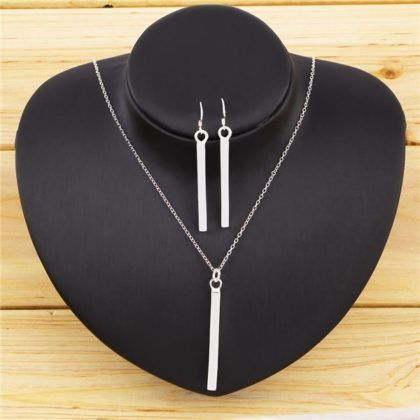 Set argint colier si cercei rectangulare