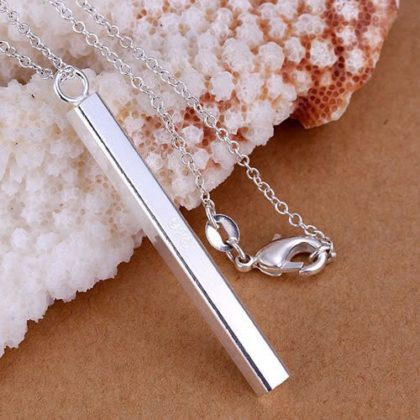 Set argint colier si cercei rectangulare colier