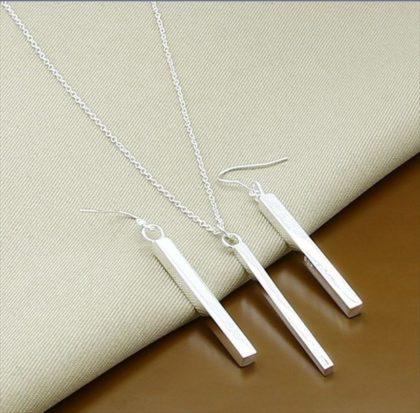Set argint colier si cercei rectangulare sus