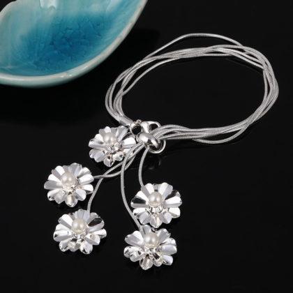 Set elegant argint colier bratara cercei floricele cu perle bratara