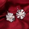 Set elegant argint colier bratara cercei floricele cu perle cercei