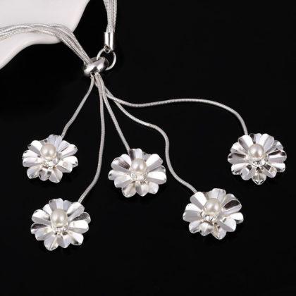 Set elegant argint colier bratara cercei floricele cu perle colier