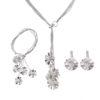 Set elegant argint colier bratara cercei floricele cu perle fata