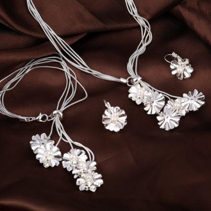 Set elegant argint colier bratara cercei floricele cu perle sus