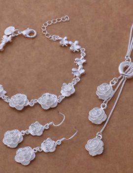 Set elegant argint colier, bratara si cercei trandafiri