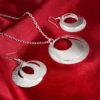 Set elegant argint colier cu cercei sfere sus