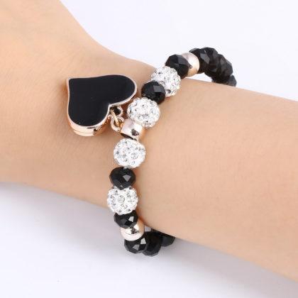 Bratara handmade cu cristale negre Shambhala model