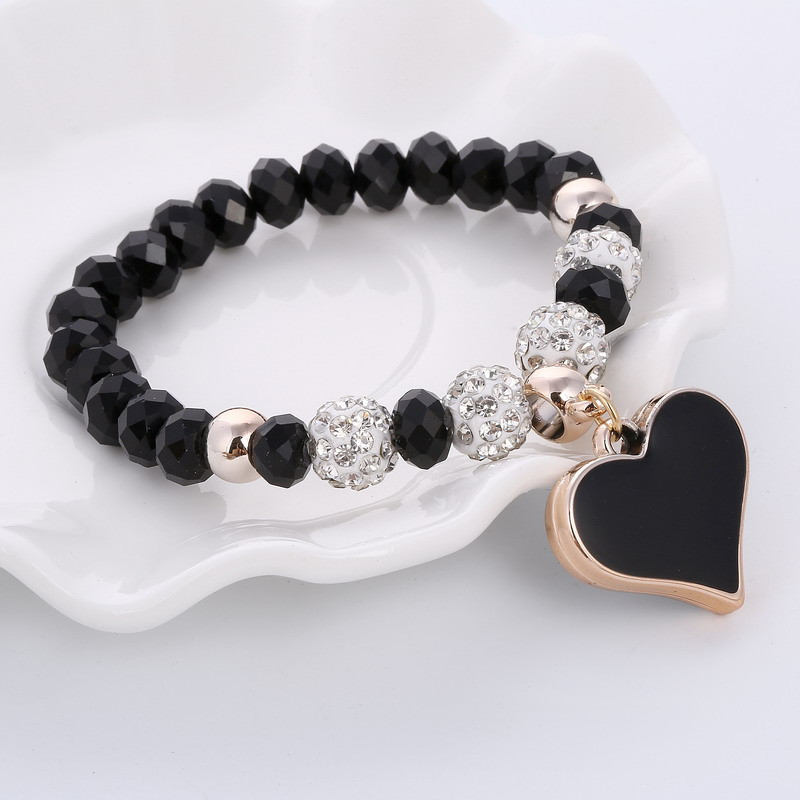 Bratara handmade cu cristale negre Shambhala