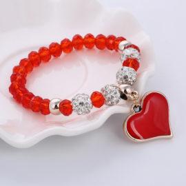 Bratara handmade cu cristale rosii Shambhala